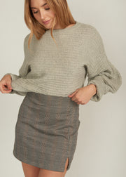 ORIANNA BUBBLE SLEEVE DOLMAIN CROP SWEATER, LIGHT GREY