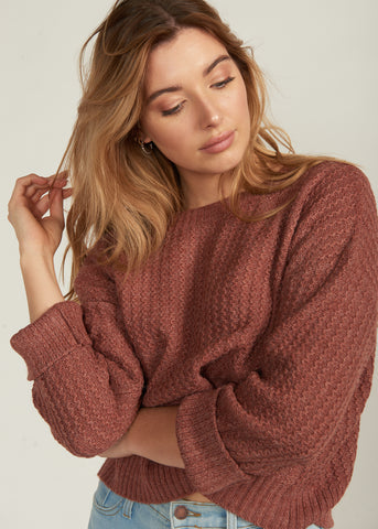 NIEMA CUFFED SLEEVE SWEATER, RUST