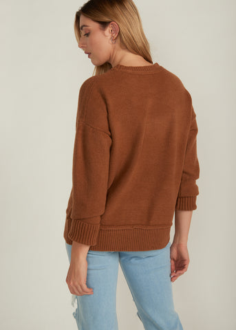 MARCY RIBBED TRIM SWEATER, BROWN