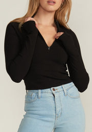 IVY ZIP UP CROP TOP, BLACK