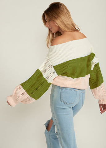 SLOAN OFF SHOULDER CONTRAST SWEATER, LIME BABY PINK