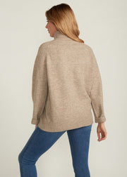 BELEN TURTLE NECK SWEATER, LATTE