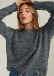 SAVINA MARBLE KNIT SWEATER,  BLUE GREY
