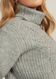 ADRIE TURTLE NECK SWEATER, GREY