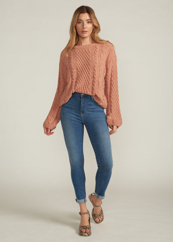 YUMI SOFT CABLE KNIT SWEATER, MOCHA