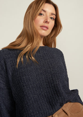 NIEMA CUFFED SLEEVE SWEATER, NAVY
