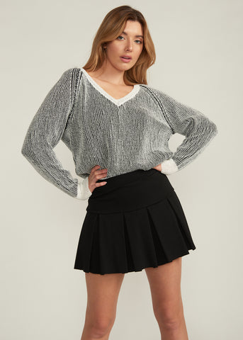 MADDOX CONTRAST KNIT SWEATER, BLACK / WHITE