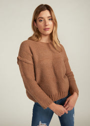 LESLEY CONTRAST KNIT SWEATER, LIGHT BROWN