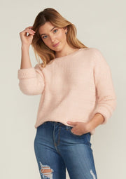 THALIA COZY CABLE KNIT SWEATER, LIGHT PINK
