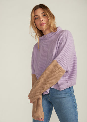 CALICO COLOR BLOCK SWEATER, LAVENDER