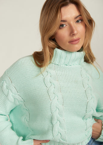 WILLOW TURTLE NECK SWEATER, MINT