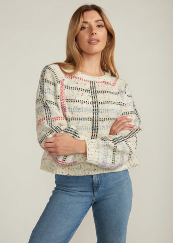KAILEE MULTI COLOR PLAID SWEATER, IVORY MULTI