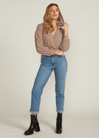 BEATRIX CROSS FRONT CROP HOODIE, MOCHA