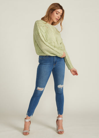 LAINA OVERSIZED CROP SWEATER, LIGHT GREEN
