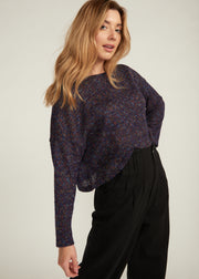 NIANA MARBLE KNIT CROP SWEATER, NAVY MULTI