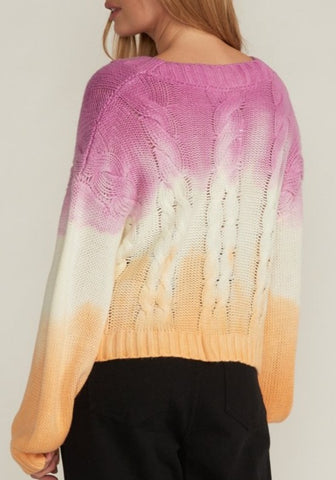 SHIRLEY TIE DYE CABLE KNIT SWEATER, LILAC ORANGE