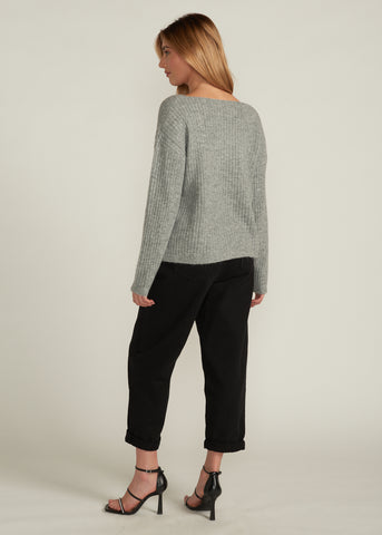 NADIRA BOAT NECK SWEATER, GREY