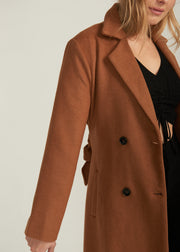 SATORI DOUBLE BREASTED WOOL COAT, CAMEL