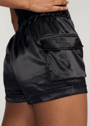 TORRES CARGO SATIN SHORTS, BLACK