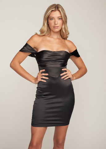 DARA SATIN CORSET MINI DRESS, BLACK