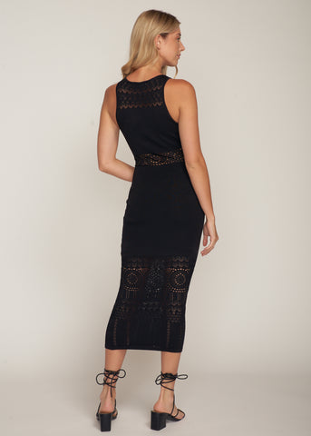 TARA POINTELLE MAXI DRESS, BLACK