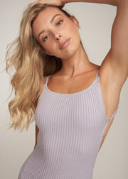 CELENA OPEN BACK RIB KNIT MINI DRESS, LAVENDER