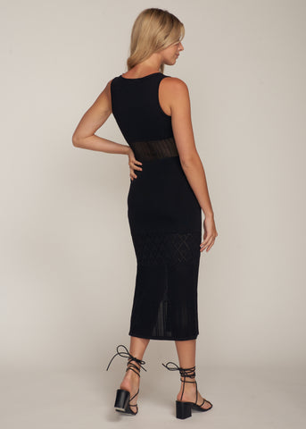 NATALINA SIDE SLIT MAXI DRESS, BLACK