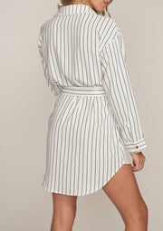 LINA STRIPED TIE FRONT SHIRT DRESS, WHITE