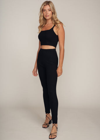 MIKKA RIB KNIT CROP TANK TOP & LEGGINGS SET, BLACK
