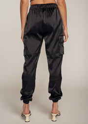 TORRES SATIN CARGO PANTS, BLACK