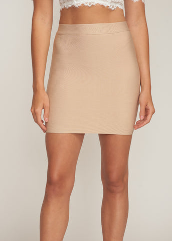 ACADIA BANDAGE MINI SKIRT, LATTE