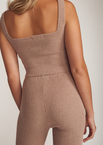RIRI COZY KNIT SQUARE NECK TOP & PANTS SET, MOCHA