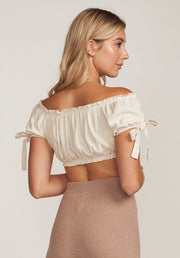 DELILAH RUFFLE TRIM TIE CROP TOP, BEIGE