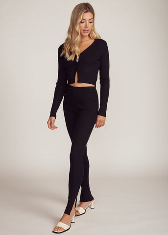 MALIA RIB KNIT BUTTON UP LOUNGE SET, BLACK
