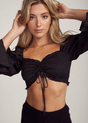 LELIANA PUFF SLEEVE RUCHED TIE CROP TOP, BLACK