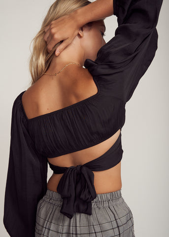 ARIELLE, LONG SLEEVE TIE BACK TOP, BLACK