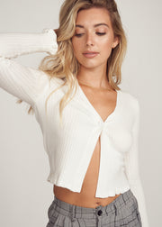 BAMBI SINGLE BUTTON CROP SWEATER, IVORY