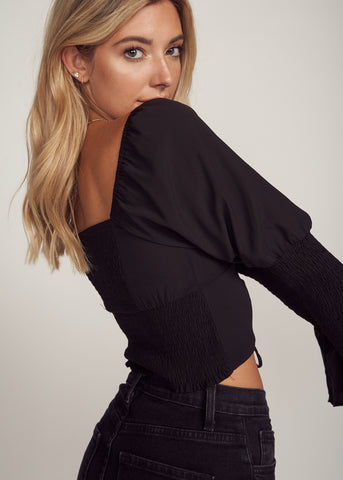 DAMARIS SMOCKED TIE FRONT CROP TOP, BLACK