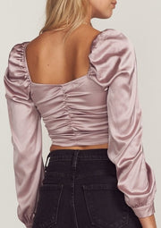JULIET RUCHED SATIN TIE TOP, MAUVE