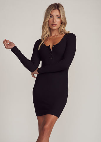 ZEYNA LONGSLEEVE BUTTON UP MINI DRESS, BLACK