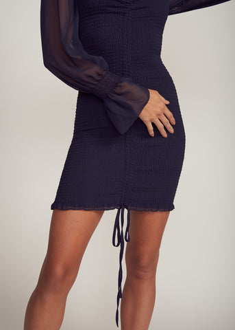 LELI PUFF SLEEVE RUCHED MINI DRESS, NAVY