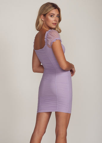 ELINA RUCHED OFF SHOULDER CORSET MINI DRESS, LAVENDER