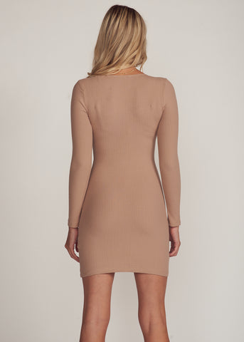 ZEYNA LONGSLEEVE BUTTON UP MINI DRESS, TAUPE