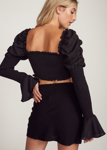 AMITA LONG SLEEVE RUCHED TOP, BLACK