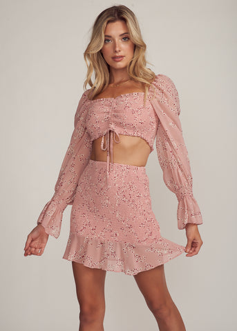 LELIANA PUFF SLEEVE RUCHED TOP & SKIRT SET, BLUSH FLORAL
