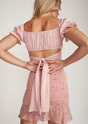 EVELLA TIE BACK CROP TOP, ROSE