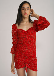 LELI PUFF SLEEVE RUCHED MINI DRESS, RED FLORAL