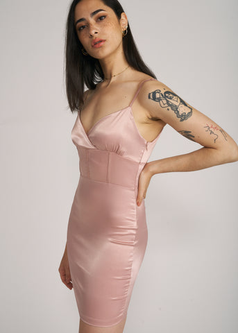 ELLA SATIN CAGE MINI DRESS, MAUVE