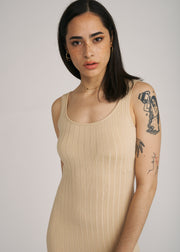 MIA RIBBED KNIT FITTED DRESS, TAUPE