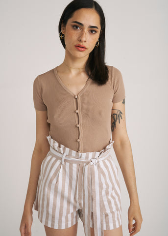 PAULA BUTTON UP CROP TOP, TAUPE